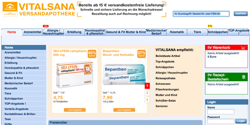 www.vitalsana.eu - Versandapotheke