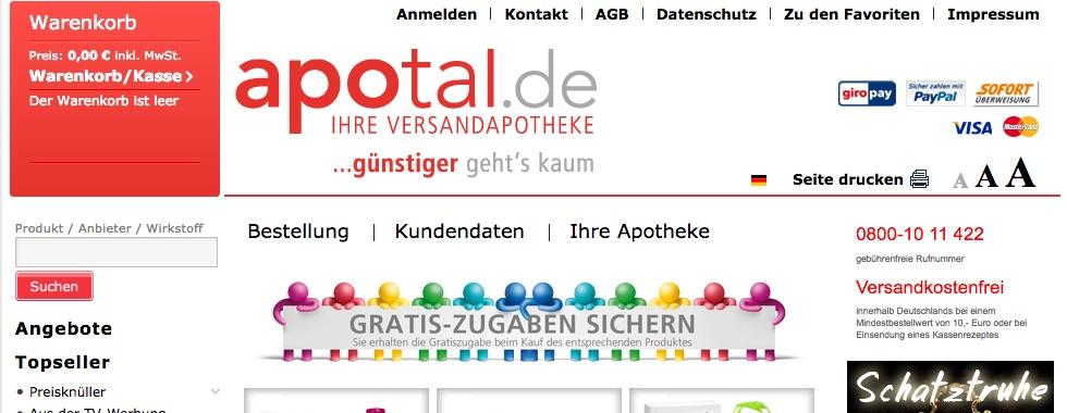 apotal.de versandapotheke gutschein